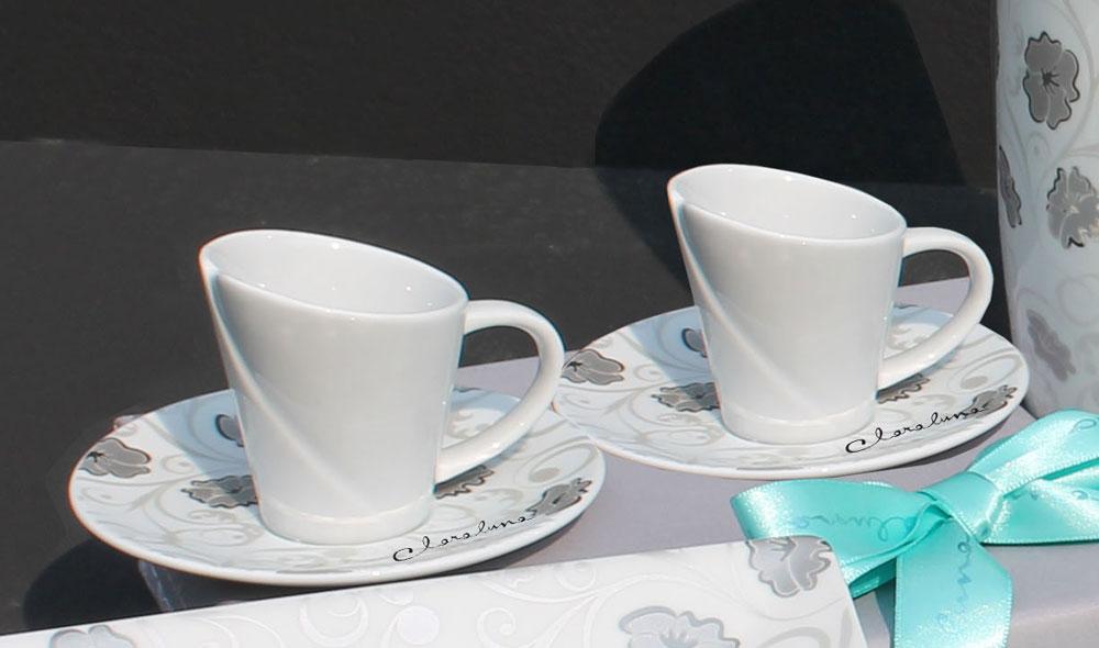 Set tazze caff in porcellana con decoro fancy di for Tazzine caffe moderne