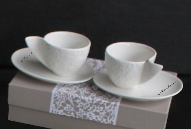 Set 2 tazze da caff in porcella avorio con decoro motion for Tazzine caffe moderne