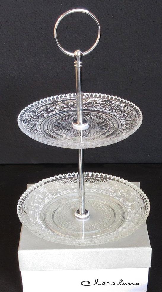 Alzatina in vetro con decoro bohemien - Claraluna