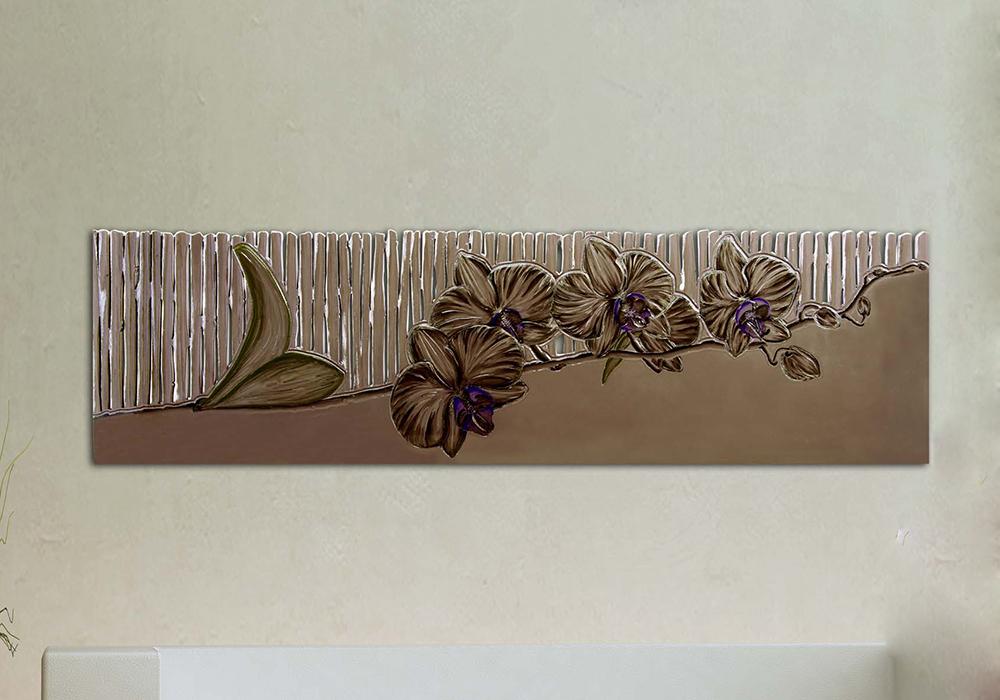 Quadro moderno con fiore intagliato a laser