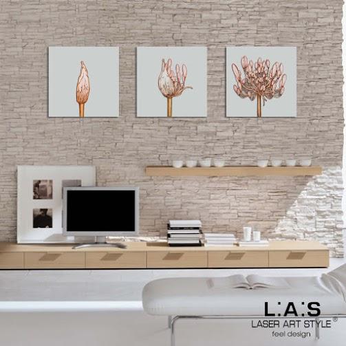 Quadro moderno con taglio laser tris fiori legno la for Idee quadri moderni
