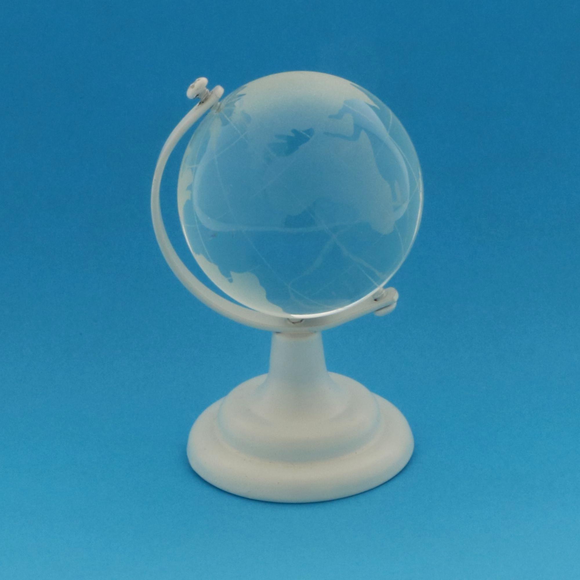 Mappamondo Globo in vetro 6 cm con base BIANCA bomboniera