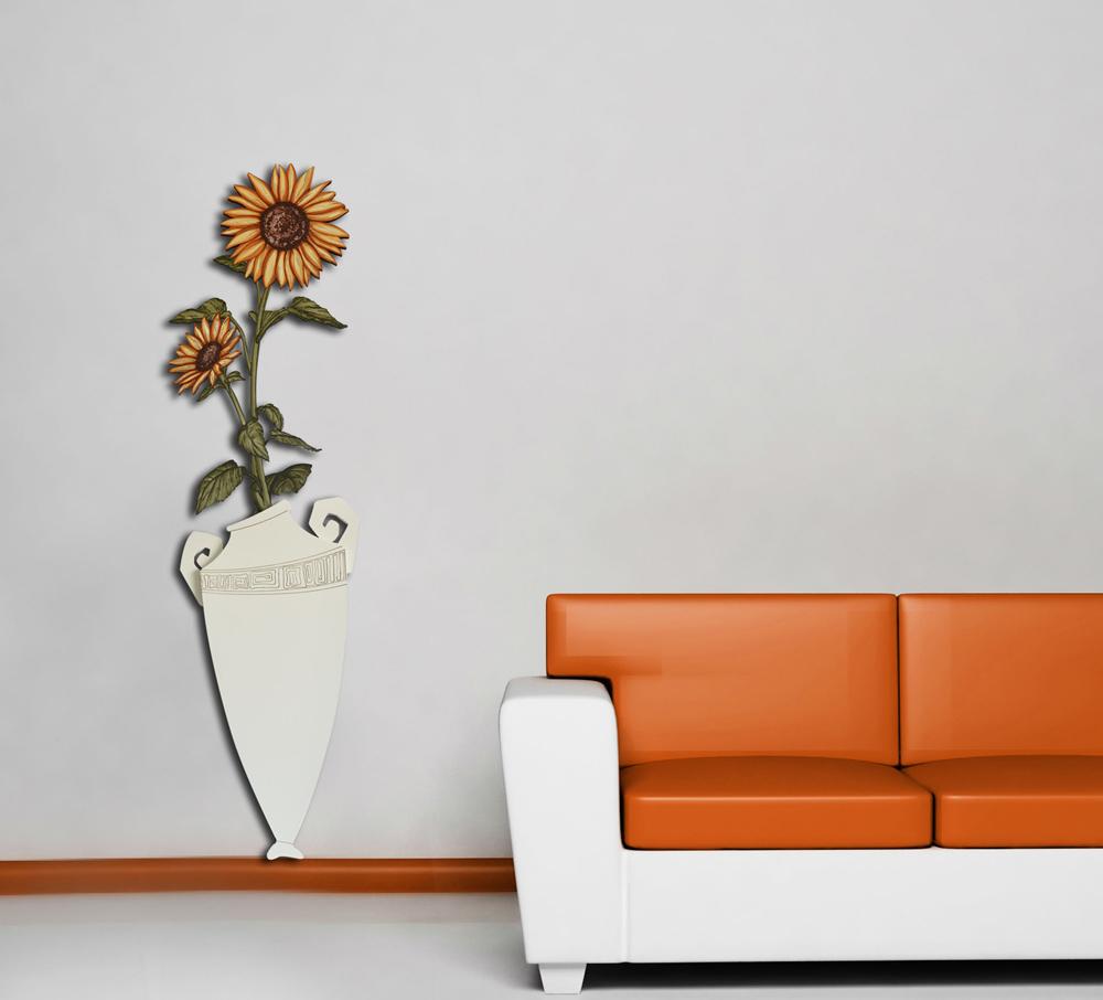 Pannello da bassa parete moderno vaso con fiori laser for Vasi arredamento moderno