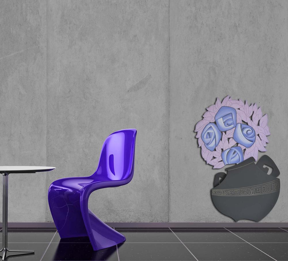 Scultura moderna da parete vaso con fiori laser art for Oggettistica moderna on line