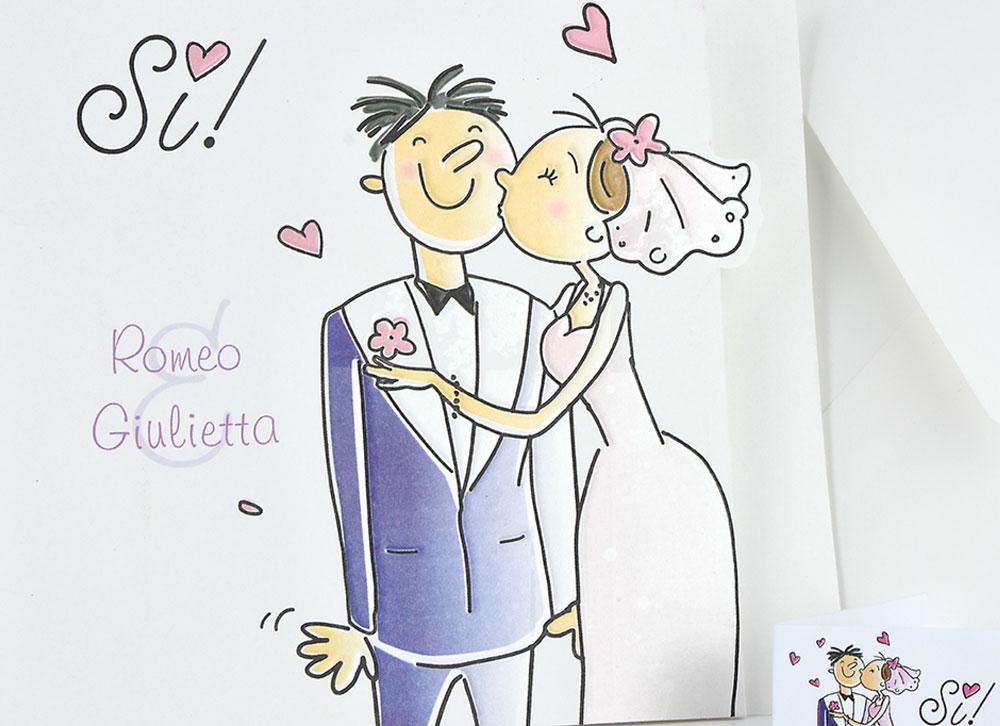 Matrimonio Tema Fumetti : Partecipazione con si e sposi fumetto partecipazioni
