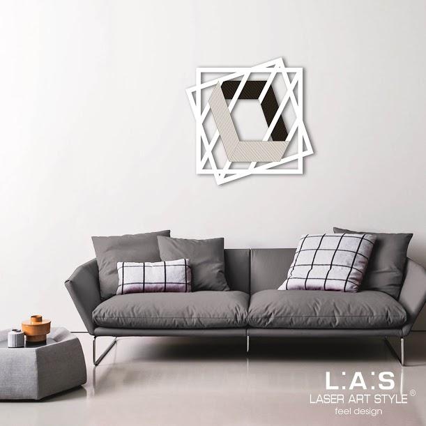 Quadro laser con quadrati e figura 3D in tema geometrico - Laser Art ...