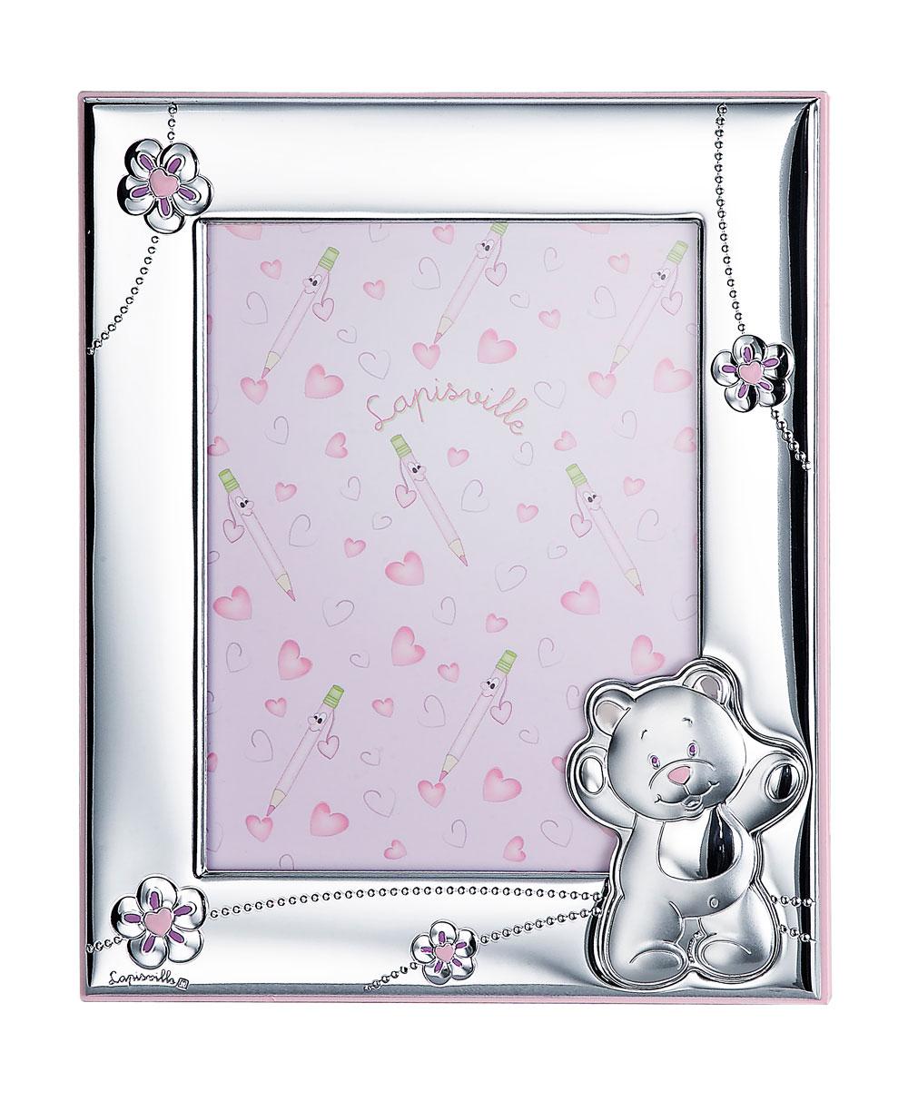 Portafoto 13x18 con orsetto e fiorellini in rosa di - Portafoto 13x18 ...