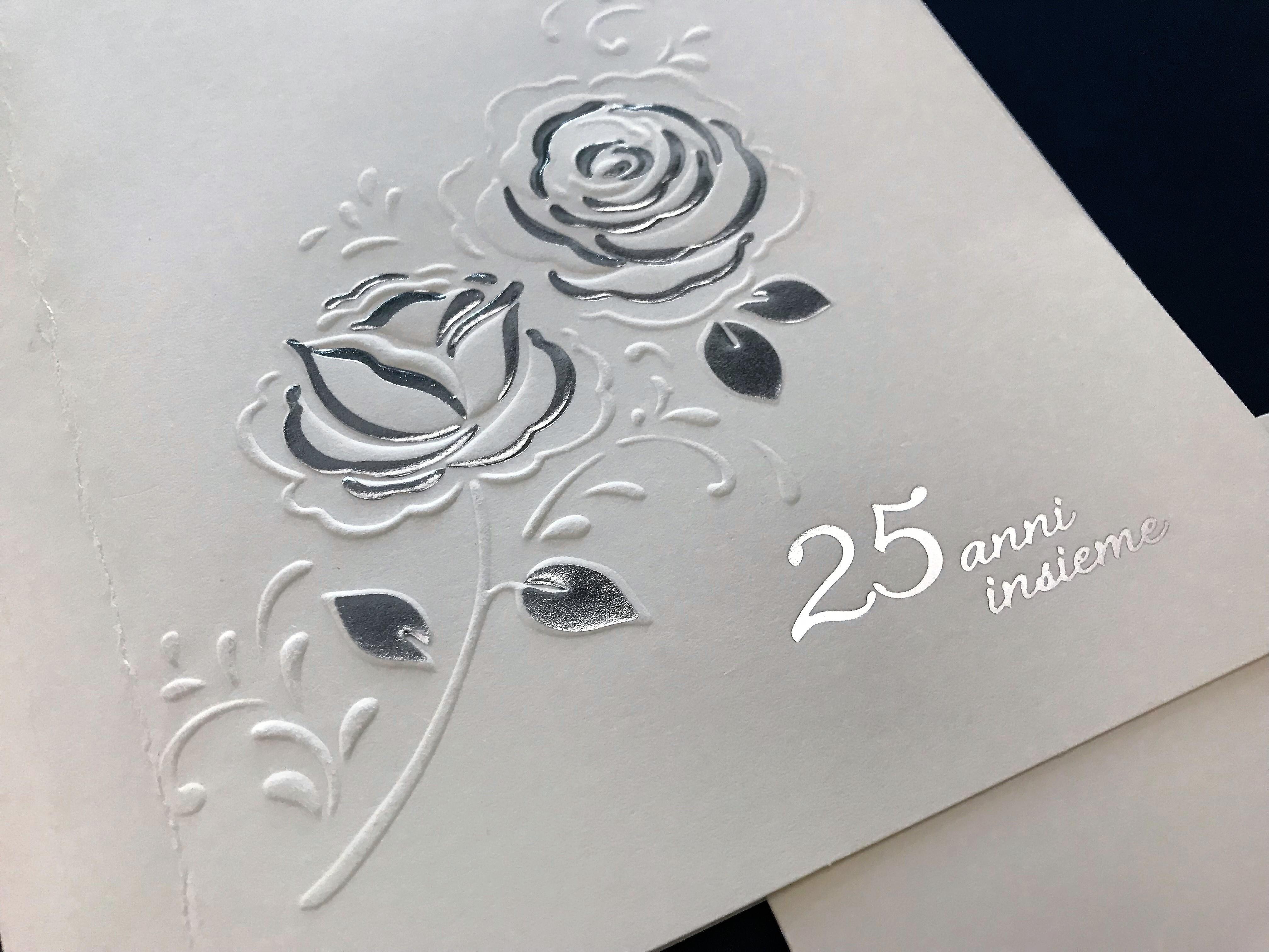 Partecipazione quadrata nozze d 39 argento 25esimo di for 25esimo anniversario