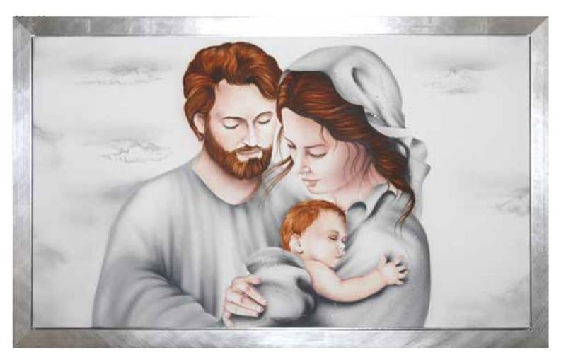 Capezzale aerografo sacra famiglia di cristofalo for Sacra famiglia quadri moderni
