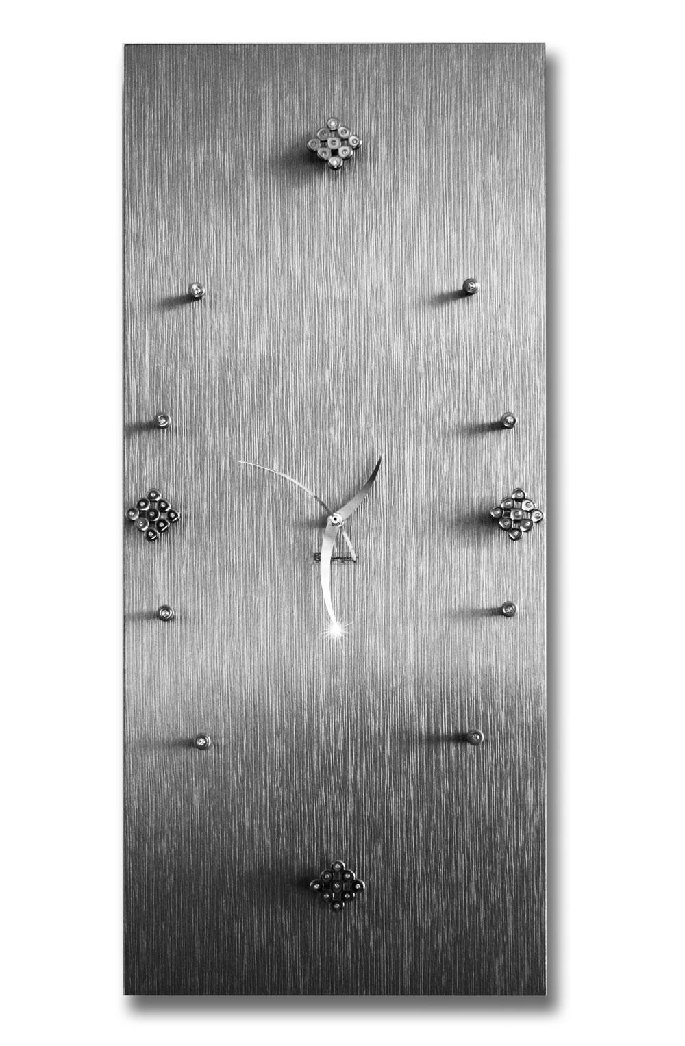 Orologio da parete in legno color argento con strass for Parete argento