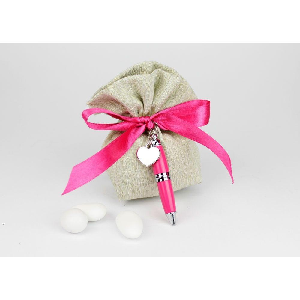 Confetti Bomboniere Matrimonio.Sacchetto Porta Confetti Con Penna Bomboniera Matrimonio