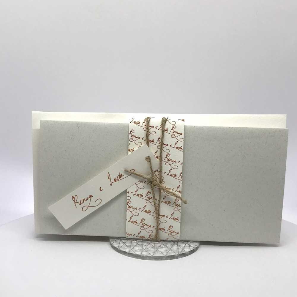 Partecipazioni Matrimonio Rettangolari.Partecipazione Matrimonio Su Cartoncino Bianco Rettangolare