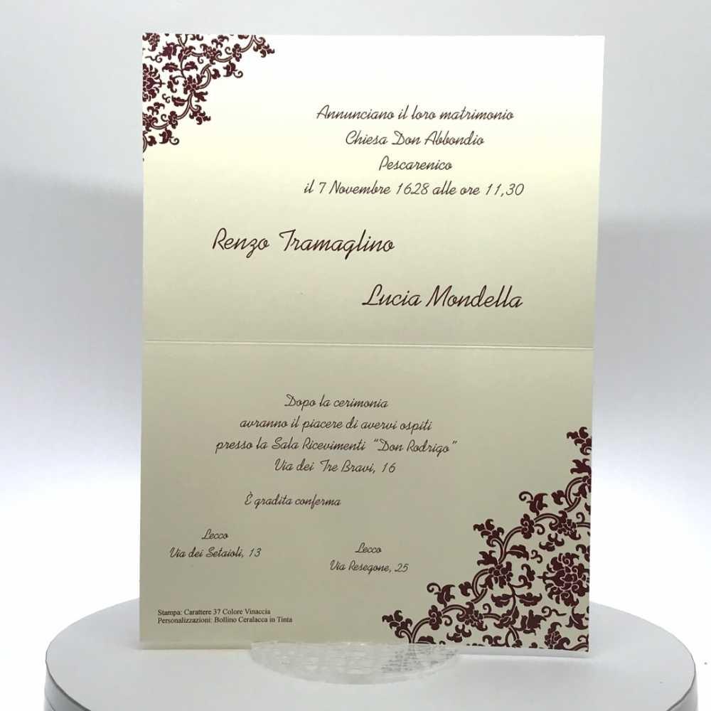 Partecipazioni Matrimonio Rettangolari.Partecipazione Matrimonio Su Cartoncino Rettangolare Avorio