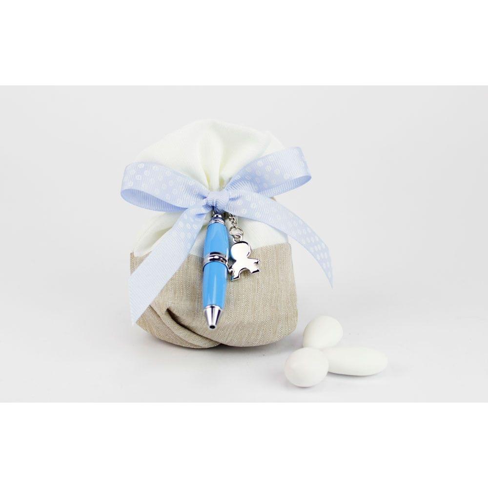 Confetti Bomboniere Matrimonio.Sacchettino Porta Confetti Con Penna Bomboniera Matrimonio