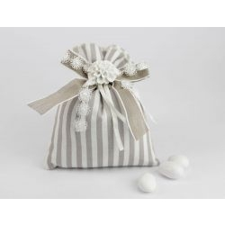 Sacchetto Portaconfetti con fiore bianco - Matrimonio / 1° Comunione