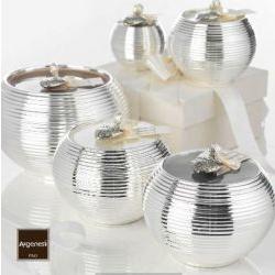 Porta candela MILLERIGHE in resina e argento - Bomboniera Argenesi