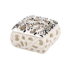 Bomboniera rochelle porcellana e argento - Argenesi