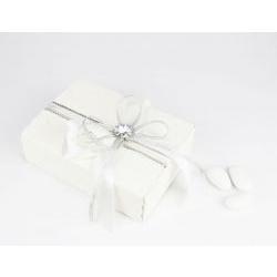 Scatolina portaconfetti decoro argento e strass - bomboniera x Nozze d'argento
