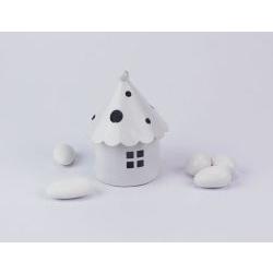 Lanterna casetta bianca portaconfetti - matromonio / comunione