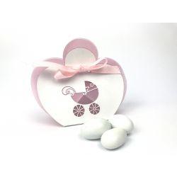 Scatola portaconfetti bianca e rosa carrozzina