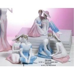 Innamorati in resina colore celeste e rosa - Mandorle