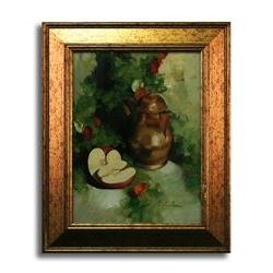 Dipinto dal vero con brocca e mela - olio su tela