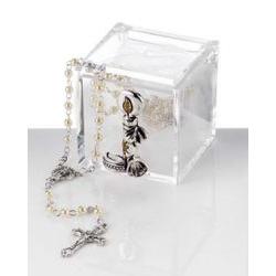 Scatolina in plex con candela battesimo e rosario bomboniera nascita - Memory 2016