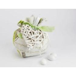 Sacchetto Porta confetti profumato Shabby con cuore legno - Matrimonio / 1° Comunione