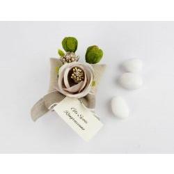 Segnaposto / cuscinetto con fiore e bigliettino - Matrimonio