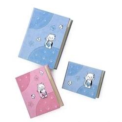 Album portafoto con gatto di peluche e farfalle in rosa - 20x25 cm