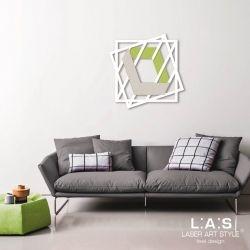 Quadro legno taglio laser con doppi quadrati e figura effetto 3D in tema geometrico - Laser Art Styl