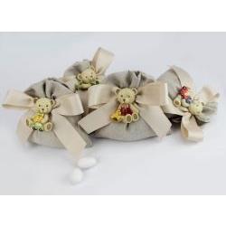 Sacchettino Orsetto magnete bomboniera comunione / battesimo Margot Italia