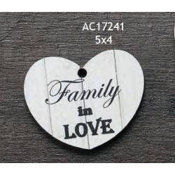 Addobbo Family in Love in legno Cuore