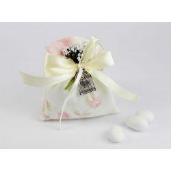 Saccoccino portaconfetti con fiori rosa e gabbietta - Nozze / 1° Comunione