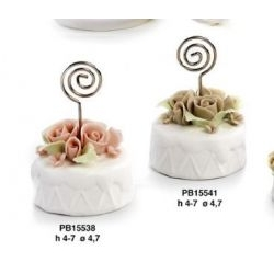 Memoclip torta con roselline in porcellana - Mandorle