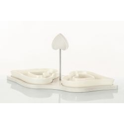 Antipastiera cuori in porcellana e legno - BOMBONIERE SOLIDALI
