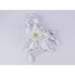Sacchetto portaconfetti in seta fiore bianco con strass cuore Gioia