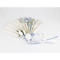 Ventaglio Segnaposto con 3 confetti - decoro cammeo per Matrimonio