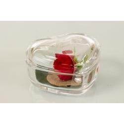 Scatolina Cuore in vetro con rosa stabilizzata - BOMBONIERE SOLIDALI