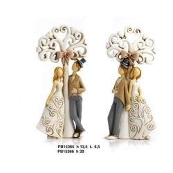 Coppia Innamorati con ombrello e fiocchetto - Mandorle