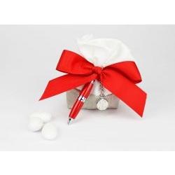 Saccoccino porta confetti con penna - bomboniera matrimonio / laurea Margot Italia