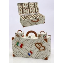 Portaconfetti valigia viaggio 36 pezzi