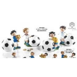 Salvadanaio con bimbo e palla da calcio - Mandorle