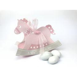 Scatolina Cavallo a dondolo rosa scritta