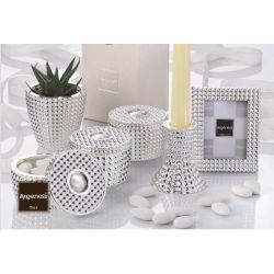 Bomboniera nozze candeliere QUADRI in resina e argento con piantina - Argenesi