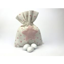 Sacchetto portaconfetti avorio con stella rosa