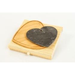 Set Tagliere Ardesia e legno di bambù cuore - BOMBONIERE SOLIDALI