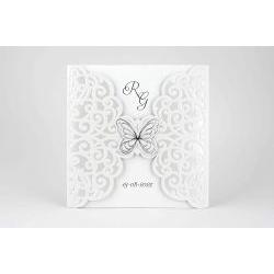 Partecipazione quadrata con farfalla argento