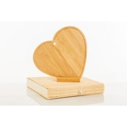 Tagliere Cuore d'arredo con appoggio in legno di bambù - BOMBONIERE SOLIDALI