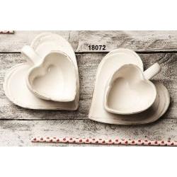 Set 2 tazze caffè cuore shabby